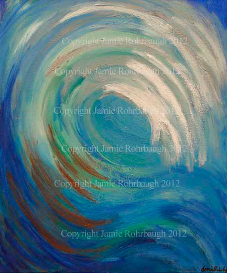 Prophetic art: wave of water entitled Drowning In Your Presence