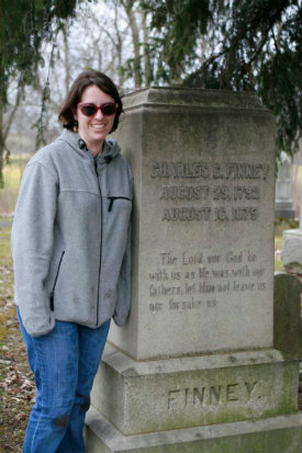 Jamie at Finney's grave